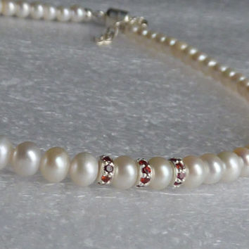 Genuine Pearl Necklace,  White Pearl And Red Garnet Necklace, Sterling Silver Pearl Necklace, Winter Wedding Jewelry, Bridal Pearl Necklace
