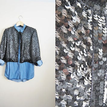 Fall Flare - Vintage 80s Black Silver Sequin Glitter Fancy Womens Sweater Cardigan