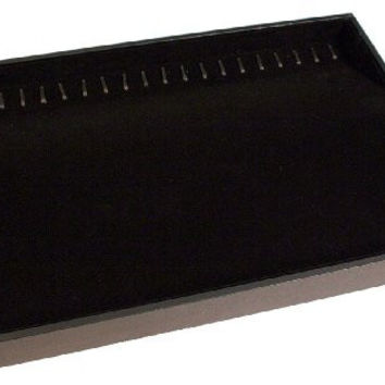 Creative Hobbies® Black Velvet Jewelry Display Tray with 20 Hooks Is Perfect for Bracelets Necklace Organizer -Stackable