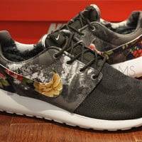 Nike Roshe Run Black Print - Blue Rose Festival Floral Print Custom Womens