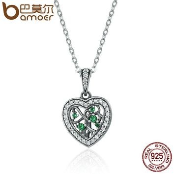 Trendy 925 Sterling Silver Rhyme Of Tree Of Life Heart Pendant Necklaces for Women Luxury Silver Jewelry SCN155