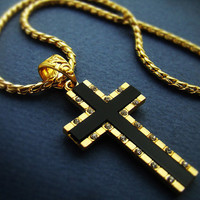 "1.57"" Cross Pendant w 28"" Chain 18K Gold Nano Injection Plated Mens Onyx Cross Chain Necklace Cubic Zirconia 93L"