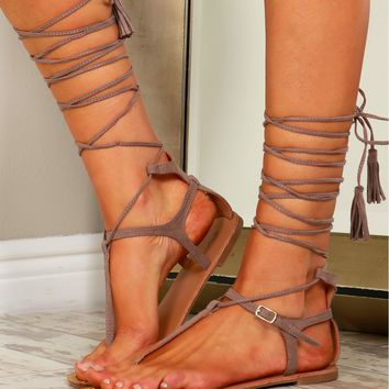 Faux Suede Fringe Tassel Lace Up Sandals Taupe