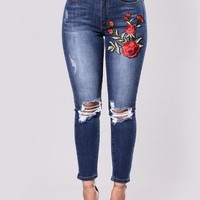 Flower pattern denim jeans