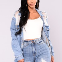 Jacqueline Fishnet Denim Jacket - Medium Wash
