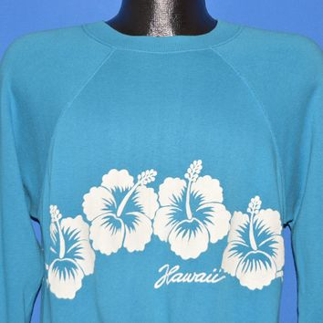 80s Hawaii Hibiscus Flower Wrap Around Sweatshirt Large