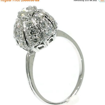 20% Off Valentine Sale Cluster diamond engagement ring white gold 18k central brilliant diamond 0.35ct Vintage engagement ring circa 1950