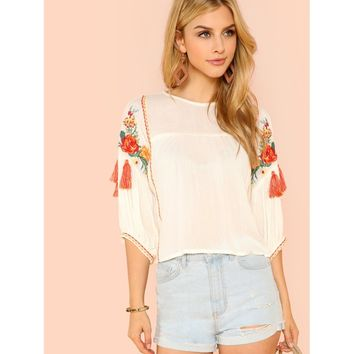 Embroidered Bishop Sleeve Blouse
