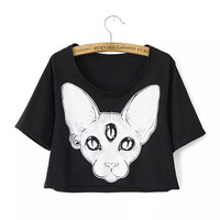 Dark Harajuku Goth Three Eyes Cat Crop Top