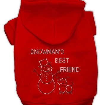 Snowman's Best Friend Rhinestone Dog Hoodie Red/Small