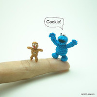 1 inch crochet cookie monster doll  - tiny amigurumi miniature muppet