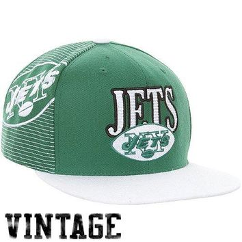 Mitchell & Ness New York Jets Throwback Laser Stitch Snapback Hat - Green/White