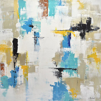 Abstract art painting 30x30 original large painting colorful art contemporary yellow blue abstract raw modern art by L.Beiboer