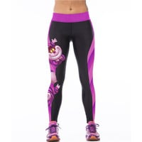 Cartoon Print Elastic Bodycon Yoga Pants For Women