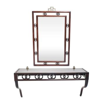 Pre-owned Chinoiserie-Style Console & Mirror