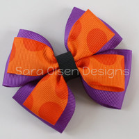 Stacked Hairbow, Double Tuxedo Bow, Basic Boutique Hairbow, Halloween Colors, Purple and Orange, 3.5 Inch Bow