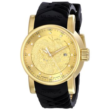 Invicta 15863 Men's S1 Rally Yellow Gold Steel Black Strap Automatic Watch