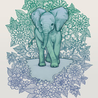 Emerald Elephant in the Lilac Evening Art Print by micklyn