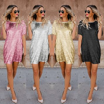 Fashion Women Short Sleeve Summer Dress O Neck Shiny Sequins Patchwork Female Robe Straight Vestidos Women Casual Party Dress