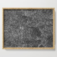 Grey and black swirls doodles Serving Tray by savousepate