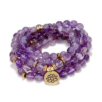 108 Natural Stone Amethyst Meditation Mala Beads with Charm