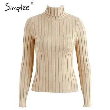 Turtleneck knitting sweater women Casual cotton knitted winter sweater pullover female Autumn winter jumper