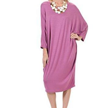 Pastel by Vivienne Womens Side Draped Dolman Sleeves Dress