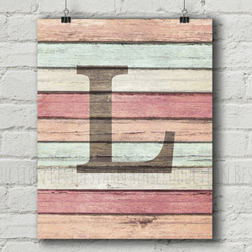 Rustic Monogram Print, Rustic Wood Nursery Initials, Blush Pink Family Name Sign, Alphabet Print, Pink Gray Nursery Decor, Baby Shower,
