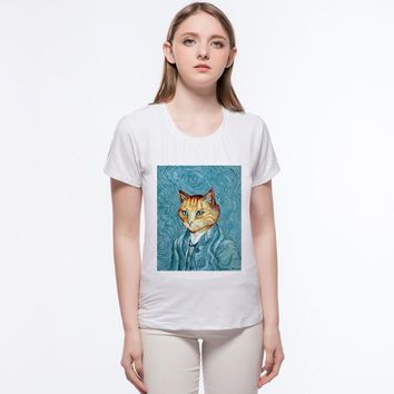 Vintage Retro Self Portrait Blue Abstract Cloud van Gogh Cat Oil Painting Funny  Women T Shirt Short Tops  L10-C21