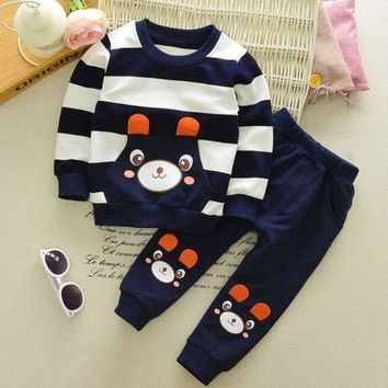 Cute Baby Boy Girl Kids Outfits Long Sleeve Pullover Shirt Tops+Pant Clothes Set