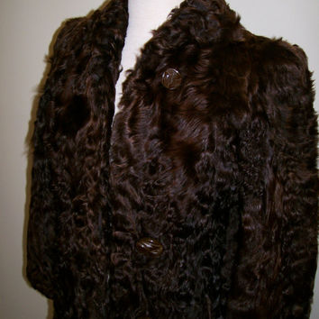 1930s art deco curly lamb fur coat bakelite buttons S