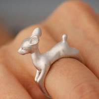 925 Silver 3D Deer Ring Animal Adjustable Ring