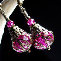 Hot Pink Crystal Jeannie Bottle Earrings Steampunk Jewellery Vintage Victorian Bridal Style