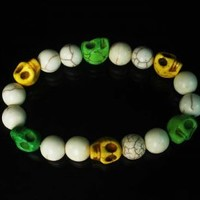 Turquoise Green Yellow Skull Beads White Veins Ball Beads Stretch Bracelet for Men Women ZZ292 from igminuscn