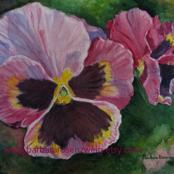 Flower Art, Flower Print Watercolor Painting, Pansy Flower Art, Pink Floral Art Flower Home Decor Gift, Pansy Flower Art, Barbara Rosenzweig