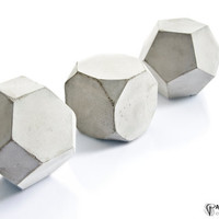 Geometric Concrete Decor Sculptures, Maxi Cement Cube Set of three, paperweight, beton bookend, office or home decor, free UK shipping