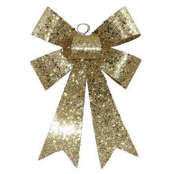 ONETOW 7' Gold Sequin and Glitter Bow Christmas Ornament