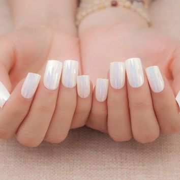 Flat False Nail Tips Seashell White Pre-designed Fake Nails Artificial Manicure Tools Nail Art Tips 24Pcs Z002