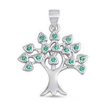1.36TCW Pave Lab Diamond Emerald Green Tree of Life Necklace Pendant