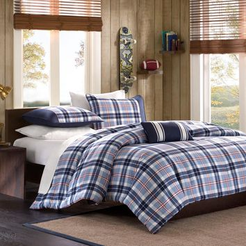 Full / Queen Size Blue Red Peach Plaid 4 Piece Comforter Set