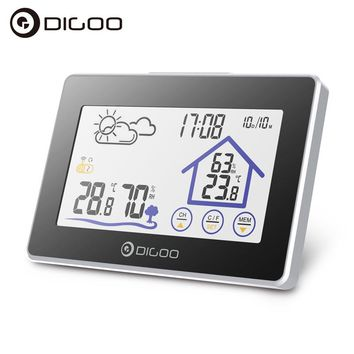 Digoo DG-TH8380 Wireless Touch Screen Smart Home Weather Station Thermometer for Outdoor Forecast Sensor Clock Low Battery