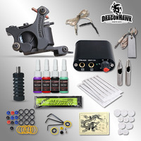 Complete Tattoo kits 8 wrap coils guns machine 1/6oz black tattoo ink sets power supply disposable needle