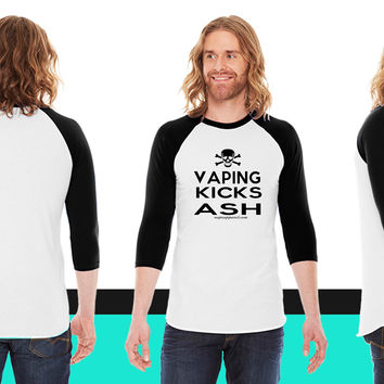 Vaping Kicks Ash American Apparel Unisex 3/4 Sleeve T-Shirt