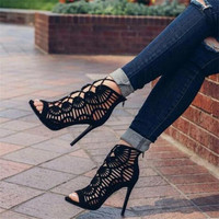 New Summer Sandals Women High Heels Cross Straps Sexy Open Toe Sandals Walk Shoes Woman Gift Roman Gladiator Ankle Boots