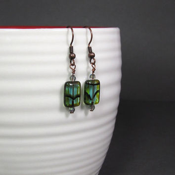 Czech Picasso Teal Earrings Mother's Day Gifts for by UrbanCorner