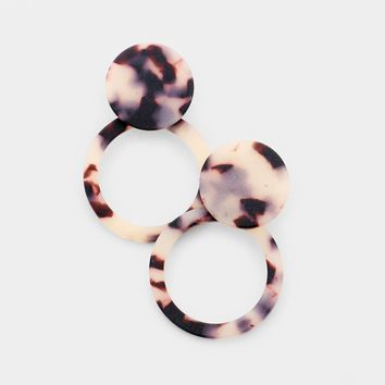 Tortoise Open Circle Celluloid Acetate Earrings
