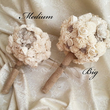 MEDIUM cream brown rustic wedding BOUQUET Ivory and brown Flowers, sola roses, Burlap Handle, custom