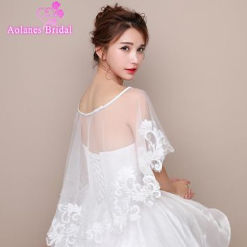 2017 Off White Ivory Tulle Lace Front High back Low Bridal Wedding Bolero Jacket Scoop Neck No Sleeves Wedding Shrug Cape Shawl