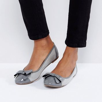 London Rebel Bow Front Soft Ballerina at asos.com