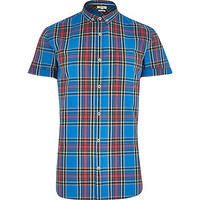 River Island MensBlue plaid shirt